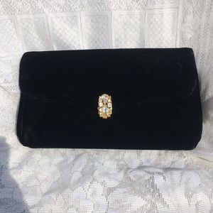 garay Bags - Vintage Black Velvet & Rhinestone Clutch